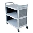 Rubbermaid [4093] Xtra™ Utility Cart w/ 3 Enclosed Sides - 3 Shelves - Off White RCP4093CRE