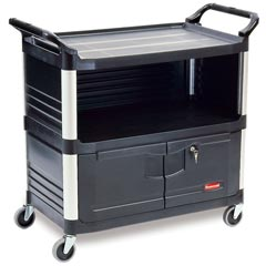 Rubbermaid [4095] Xtra™ AV/Equipment Cart w/ Lockable Enclosed Shelf - 3 Shelves - Black