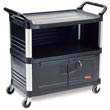 Rubbermaid [4095] Xtra™ AV/Equipment Cart w/ Lockable Enclosed Shelf - 3 Shelves - Black RCP4095BLA