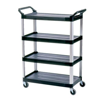 Rubbermaid [4096] Four-Shelf Utility Cart - Open Sided - Black
