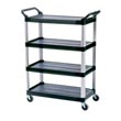 Rubbermaid [4096] Xtra™ Four-Shelf Utility Cart - Open Sided - Black