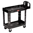 Rubbermaid [4500-88] Heavy-Duty Lipped Shelf Utility Cart - 2 Shelves - Black