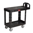 Rubbermaid [4505] Heavy-Duty Flat Shelf Utility Cart - 2 Shelves - Black RCP4505BLA