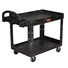 Rubbermaid [4520-88] Heavy-Duty Lipped Shelf Utility Cart - 2 Shelves - Black