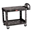 Rubbermaid [4525] Heavy-Duty Flat Shelf Utility Cart - 2 Shelves - Black