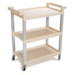 Rubbermaid [9T65-71] Utility Service Cart w/ Brushed Aluminum Uprights - 3 Shelves - Beige