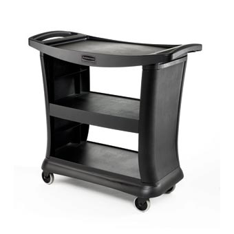 Rubbermaid [9T68] Executive Utility Service Cart - 3 Shelves - Black