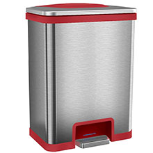 13 Gal. Power Step Sensor Automatic Trash Can - Stainless Steel/Red HLS13SR