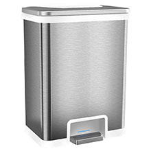 13 Gal. Power Step Sensor Automatic Trash Can - Stainless Steel/White HLS13SW