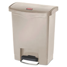 Beige Slim Jim Resin Step-On Waste Container - 8 Gallon