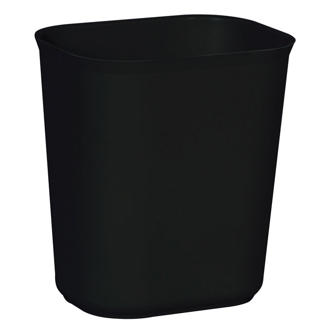 Fire Resistant Fiberglass Deskside Wastebasket - Black - 3.5 Gallon
