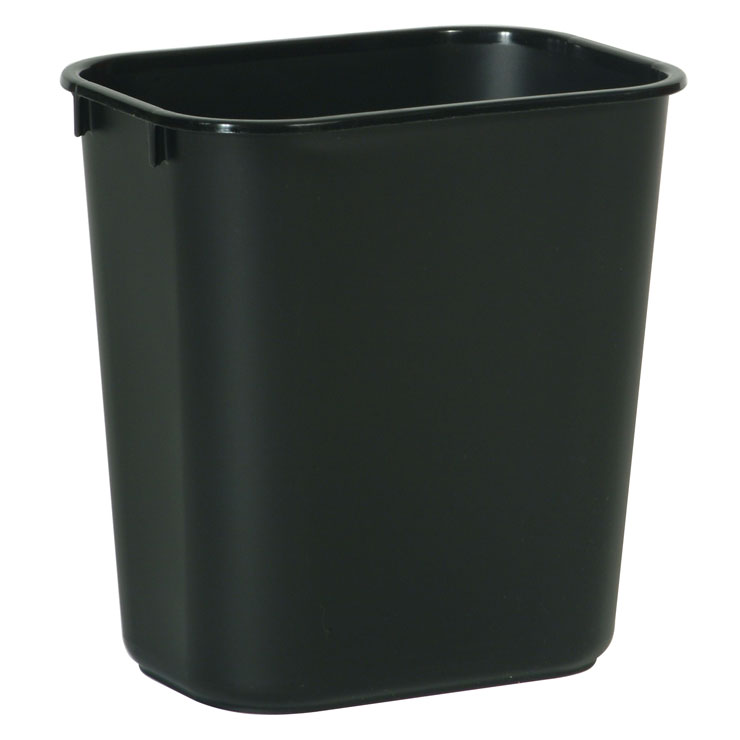 Rubbermaid [2955] Soft Molded Plastic Deskside Wastebasket - Small - 13-5/8 Qt. - Black