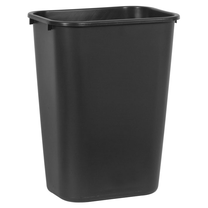 Black Soft Molded Plastic Deskside Wastebasket - 10.25 Gallon
