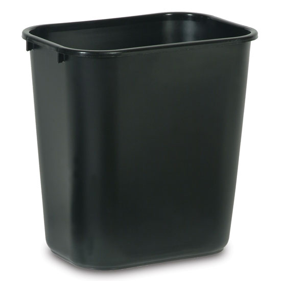 Black Soft Molded Plastic Deskside Wastebasket - 7 Gallon
