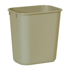 Rubbermaid [2955] Soft Molded Plastic Deskside Wastebasket - Small - 13-5/8 Qt. - Beige