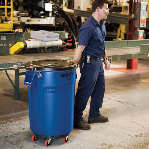 rubbermaid brute trash can dolly black