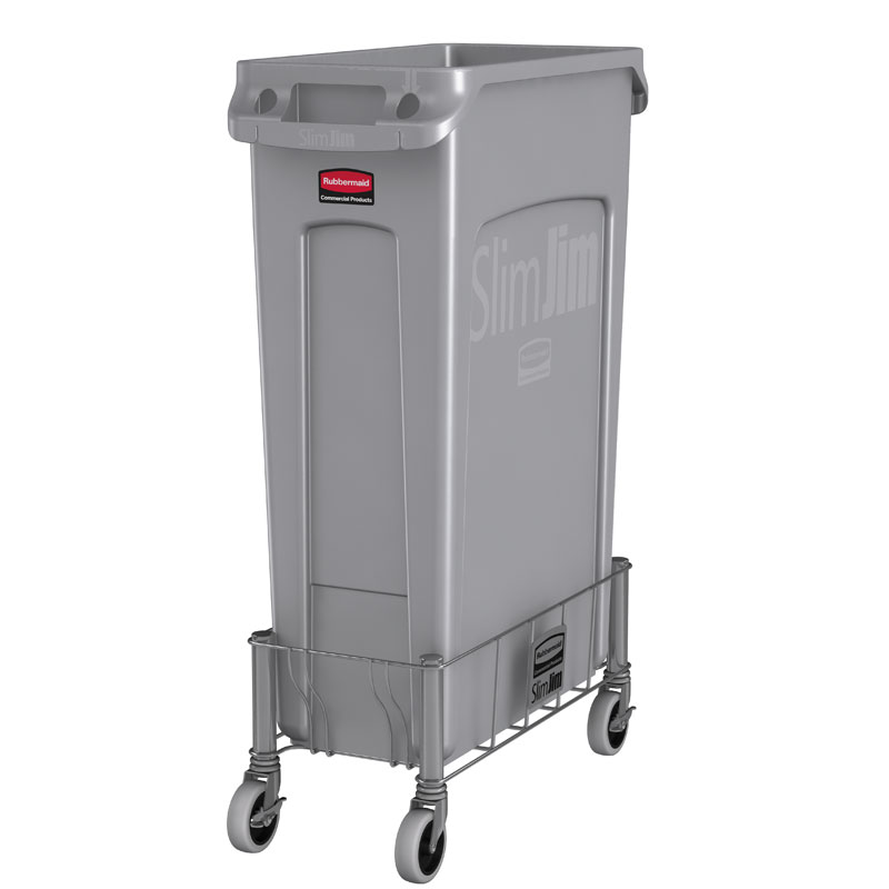 rubbermaid slim jim rectangular trash can stainless steel wire frame dolly janitorial garbage u0026 waste receptacles unoclean - Slim Trash Can