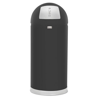 Fire-Resistant Dome Waste Receptacle - Black - 15 Gallon RCPR1536EPLBLK