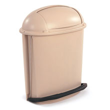 Rubbermaid [6177] Foot Pedal Activated Rolltop Fire-Safe Trash Container - Beige - 14.5 Gallon