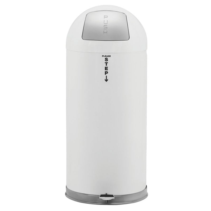 Fire-Resistant Dome Waste Receptacle - White - 15 Gallon RCPR1536EGLW