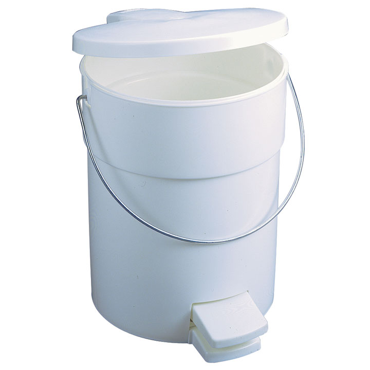 Plastic Fire-Safe Step-On Trash Container w/ Rigid Liner - White - 4.5 Gallon