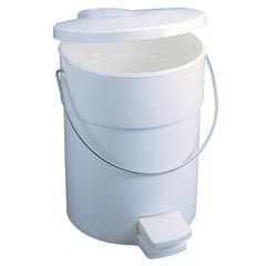 Rubbermaid [6142] Plastic Fire-Safe Step-On Trash Container w/ Rigid Liner - White - 4.5 Gallon