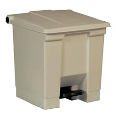 Rubbermaid [6143] Plastic Fire-Safe Step-On Trash Container - Beige - 8 Gallon