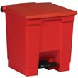 Rubbermaid [6143] Plastic Fire-Safe Step-On Trash Container - Red - 8 Gallon