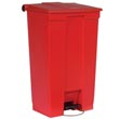 Rubbermaid [6146] Plastic Fire-Safe Mobile Step-On Trash Container - Red - 23 Gallon
