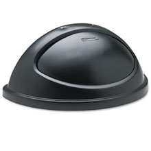 Rubbermaid [3620] Untouchable® Half Round Trash Container Lid w/ Swing Door - Black