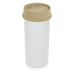 Rubbermaid [2672] Untouchable® Round Trash Can Swing Top Lid - 22 Gallon - Beige