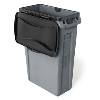 Rubbermaid [2674] Slim Jim® Rectangular Waste Container Hinged Top Lid - Black