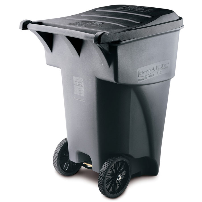 BRUTE Giant Mobile Roll Out Trash Container - 95 Gallon - Gray