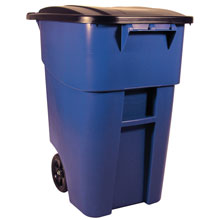BRUTE Mobile Rollout Trash Container - 50 Gallon - Blue