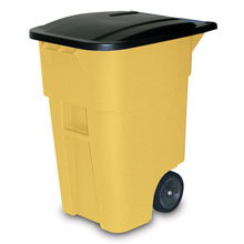 Rubbermaid [9W27] BRUTE® Mobile Rollout Trash Container - 50 Gallon - Yellow