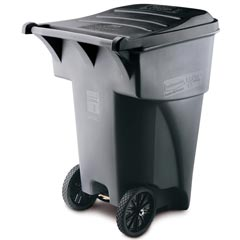Rubbermaid [9W22] BRUTE® Giant Mobile Roll Out Trash Container - 95 Gallon - Gray