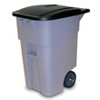 Rubbermaid [9W27] BRUTE® Mobile Rollout Trash Container - 50 Gallon - Gray