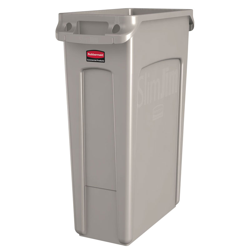 Rubbermaid [3540-60] Slim Jim® Rectangular Waste Container w/ Venting Handles - 23 Gallon - Beige