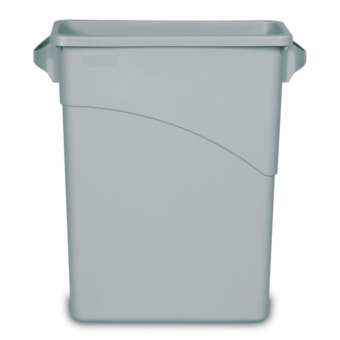 Rubbermaid [3541] Slim Jim® Rectangular Waste Container w/ Handles - 15 7/8 Gallon - Gray