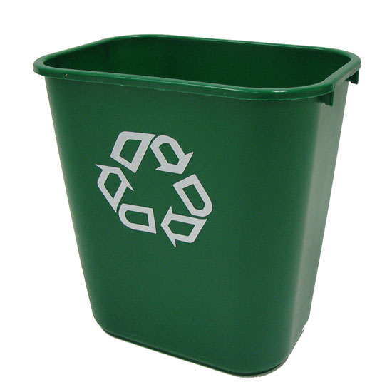 Deskside Paper Recycling Container, Rectangular, Plastic, 7 gal, Green RCP2956-06GRE