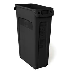 Rubbermaid [3540-60] Slim Jim® Rectangular Waste Container w/ Venting Handles - 23 Gallon - Black