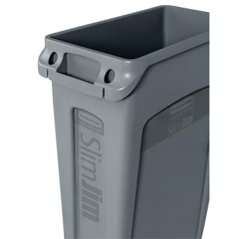 Rubbermaid [3540-60] Slim Jim® Rectangular Waste Container w/ Venting Handles - 23 Gallon - Gray