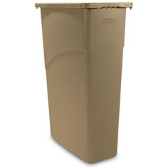 Rubbermaid [3540] Slim Jim® Rectangular Waste Container w/ Handles - 23 Gallon - Beige
