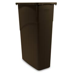 Rubbermaid [3540] Slim Jim® Rectangular Waste Container w/ Handles - 23 Gallon - Brown