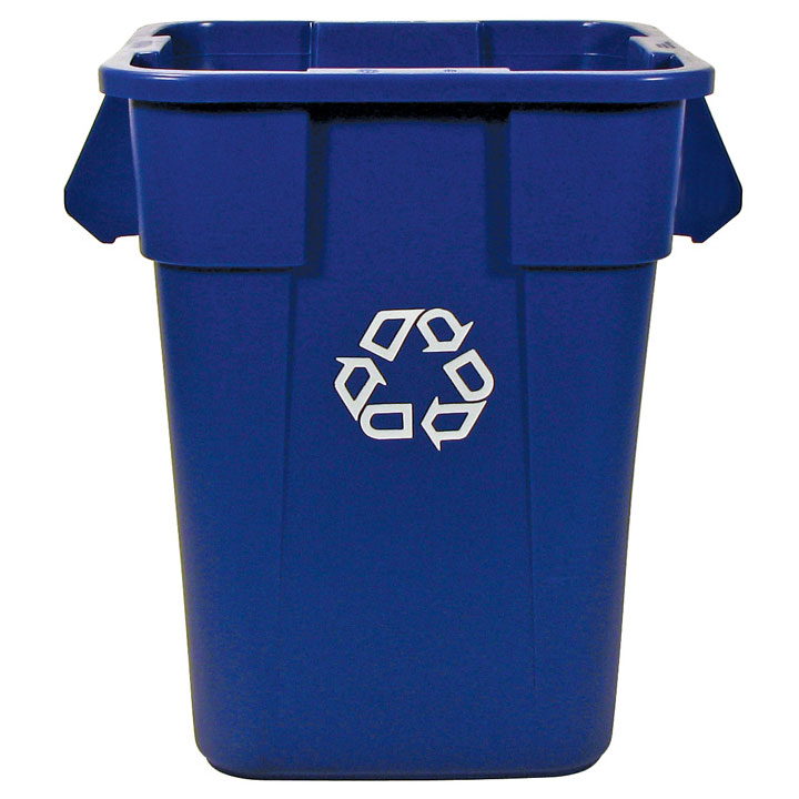 40 Gallon Brute Square Recycling Container, Blue
