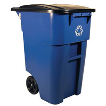 BRUTE Recycling Rollout Container w/ Lid - 50 Gallon