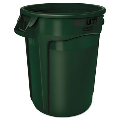 Round brute container plastic 32 gal dark green unoclean - Garden waste containers ...