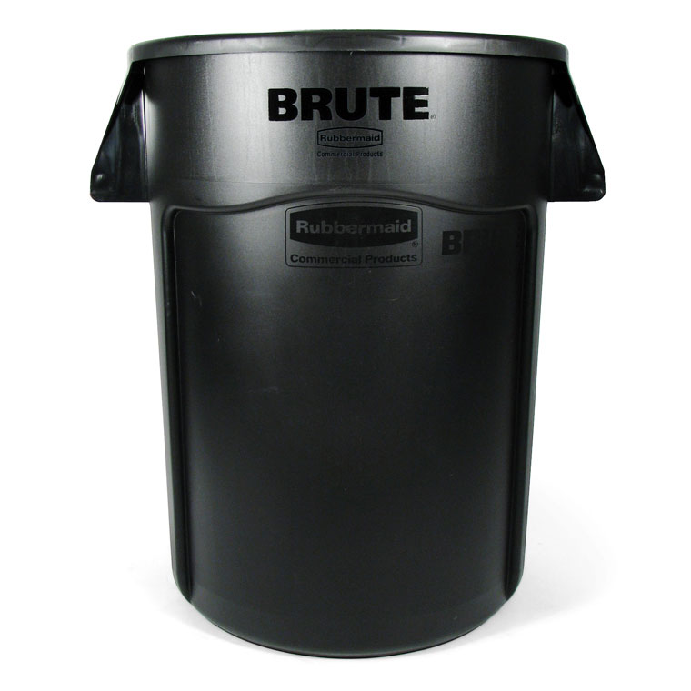 Brute Round Vented Trash Receptacle, Black - 44 Gallon