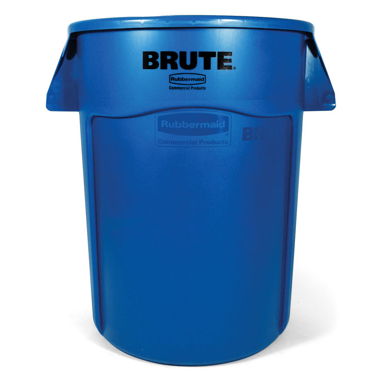Brute Round Vented Trash Receptacle, Blue - 44 Gallon