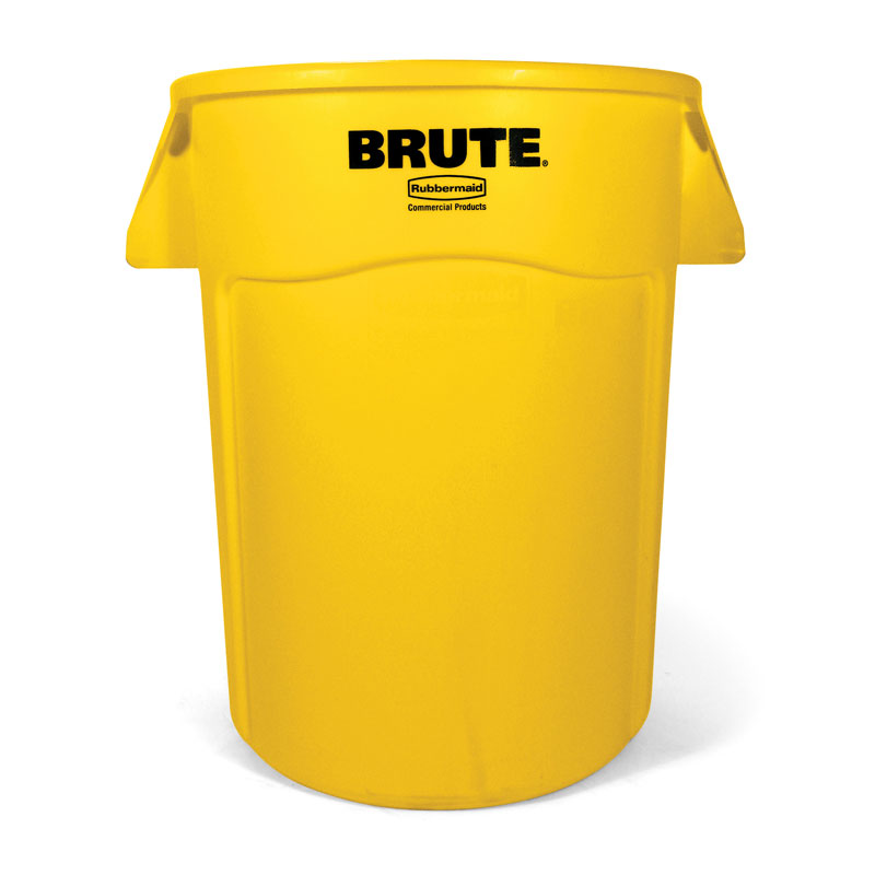 Brute Round Vented Trash Receptacle, Yellow - 44 Gallon RCP2643-60YEL